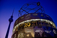 Tv Tower and World Clock Berlin Germany at Night