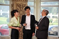 Two businessmen and a businesswoman talking happily