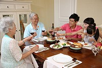 Family dinning at home