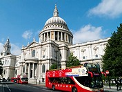 St Pauls Cathedra,l London, UK, and Red Tourist Open Top Tour Bus