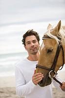 Brown horse,man, beach, sea, sand