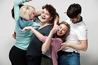 Interconnected group of young adults