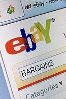 Ebay website splash screen and logo showing search for bargains