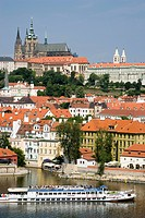 Czech Republic, Prague, Vitava river, pleasure boat