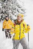 Italy, South Tyrol, Two women, cross country skiing