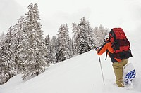 Italy, South Tyrol, Man snowshoeing, rear view