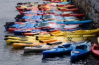 Kayaks lined up outside North Shore Kayak Outdoor Center in Rockport, MA