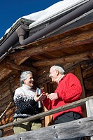 Italy, South Tyrol, Seiseralm, Senior couple standing on balcony of log cabin, smiling, portrait