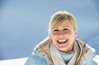 Italy, South Tyrol, Seiseralm, Portrait of a woman, laughing, close_up