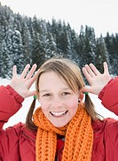 Italy, South Tyrol, Seiseralm, Girl 12_13 making faces, portrait, close_up