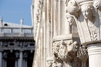 Italy, Venice, Doge's Palace, Column with ornamentation, close up