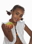 African girl 6_7 holding apple, smiling, portrait