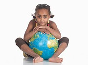 African girl 6_7 with globe, portrait