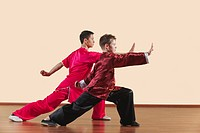 Kung Fu, Changquan, Gongbu goushou tuizhang, Long Fist Style, Kung Fu instructor and boy 10_11