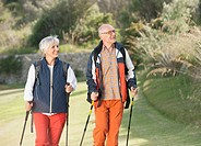 Spain, Mallorca, Senior couple Nordic Walking