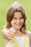 Girl 10_11 thumbs up, smiling, portrait, close_up