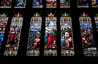 Detail of interior of Great West Window, showing Moses crossing the Red Sea, Gloucester Cathedral, Gloucester, Gloucestershire, England, United Kingdo...