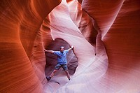 USA, Arizona, Man standing in Lower Antelope Canyon