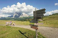 Italy, Seiseralm, Family hiking