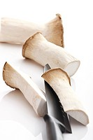 Sliced King trumpet mushrooms Pleurotus eryngii
