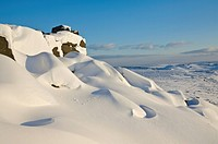 Snow drifts and snow covered moorland at Stanage Edge, Peak District National Park, Derbyshire, England, United Kingdom, Europe