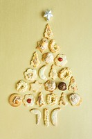 Cookies, Christmastree_shaped, elevated view