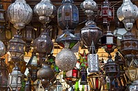 Lanterns for sale in the souk, Marrakech Marrakesh, Morocco, North Africa, Africa