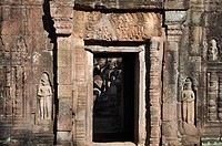Angkor (Cambodia): door at the Preah Khan