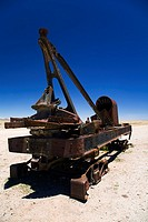 Bolivia, Southern Altiplano, Uyuni  Rusty railway vehicle within a train cementary near Uyuni