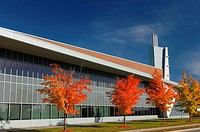 Red maple trees and modern architecture of Seneca College York University Stephen E Quinlan Building