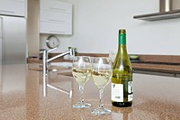 Bottle of white wine and wine glasses