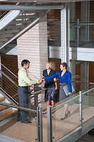 Businesspeople shaking hands on stairwell