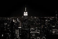 Empire state building and cityscape at night