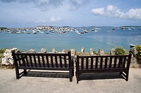 Benches on st marys harbour isles of scilly