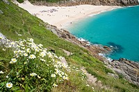 Porthcurno beach in cornwall