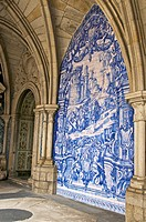 Typical azulejos, earthenware tiles, cloister of Se cathedral ,detail, Porto, Portugal