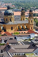 Theatinerkirche as seen from the tower of Frauenkirche  Munich, Bavaria, Germany