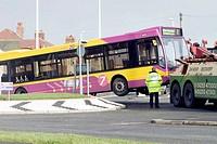 Bus stuck on traffic roundabout