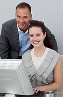 Business partners working at a computer in the office