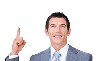 Positive businessman pointing upward isolated on a white background