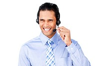 Smiling customer service agent with headset on against a white background