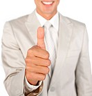 Close_up of a businessman with thumb up isolated on a white background