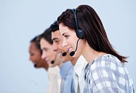 Multi_ethnic customer service representatives in a call center