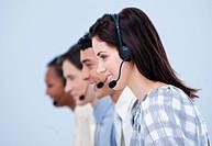 Multi_ethnic customer service representatives in a call center