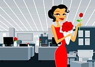 Portrait of a businesswoman holding a bouquet of flowers in an office