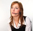 Business woman on a headset talking