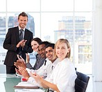 Young businessman having success in a meeting