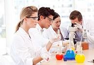 Young science students in a laboratory