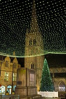 England, County Durham, Durham City  Christmas Tree in the Market Place of Durham City