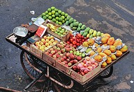 Aerial view of handcart of various fruits , juhu , Bombay Mumbai , Maharashtra , India